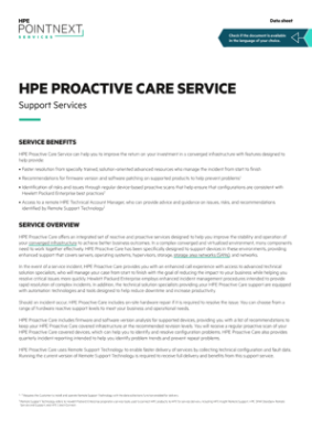 HPE Proactive Care Service – Support Services data sheet