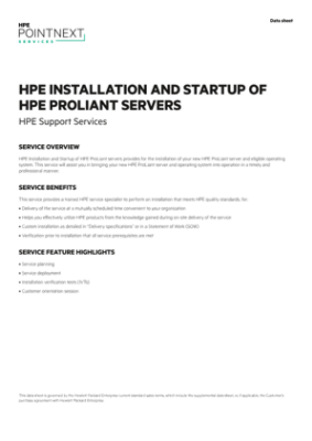 HPE Installation and Startup Service for HPE BladeSystem ...