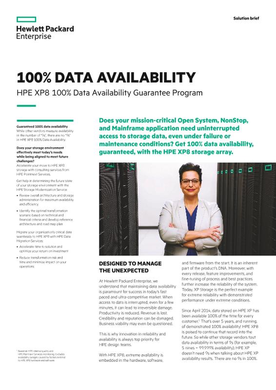 100% data availability: HPE XP8 100% Data Availability Guarantee Program solution brief thumbnail