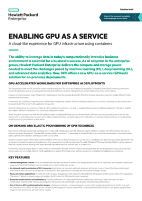 Enabling GPUaaS – A cloud-like experience for GPU infrastructure using containers solution brief thumbnail