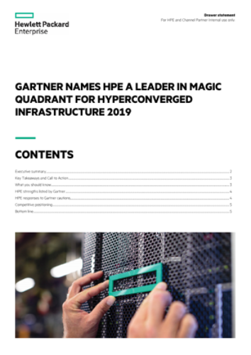 Gartner Names HPE a Leader in Magic Quadrant for Hyperconverged Infrastructure 2019 drawer statement thumbnail