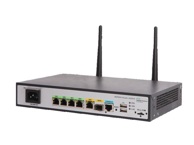 HPE MSR954-W 1GbE SFP (WW) 2GbE-WAN 4GbE-LAN Wireless 802.11n CWv7 Router, JH297A