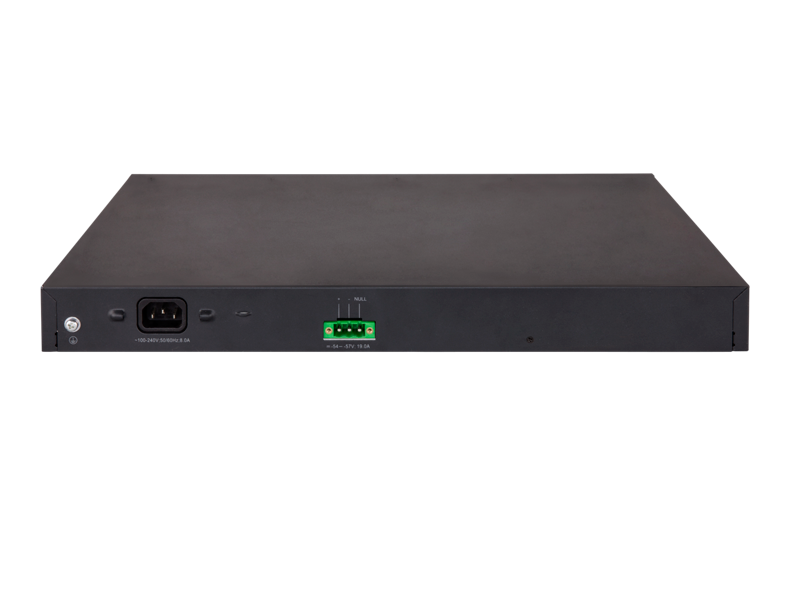 HPE 5130-48G-PoE+-4SFP+ (370W) EI Switch, rear facing