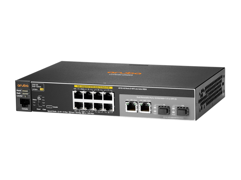 Aruba 2530-8 PoE+ switch, J9780A, front facing