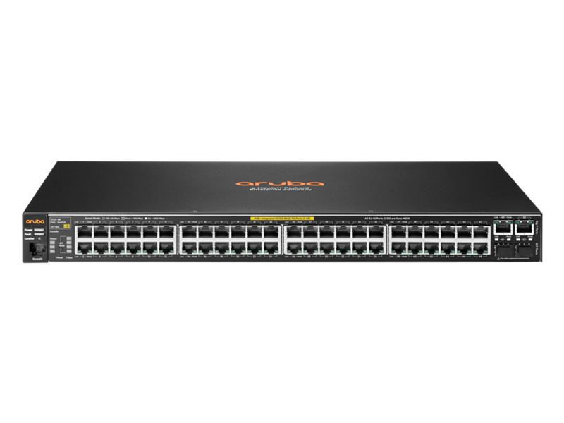 Aruba 2530-48 PoE+ switch, J9778A, front facing