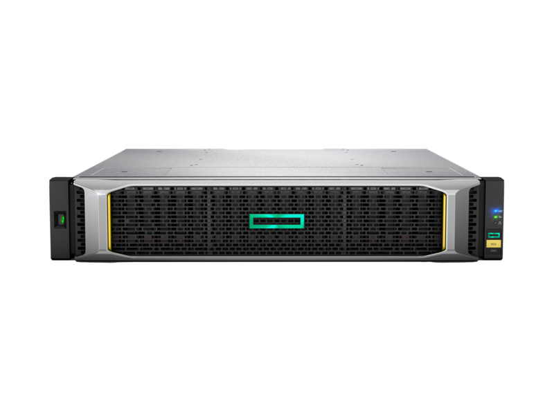 Front view of an HPE MSA 2050 with bezel.