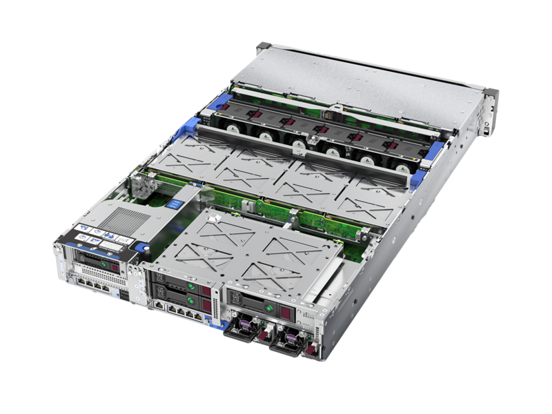 HPE ProLiant DL385 Gen10 - Interior, rear left-facing