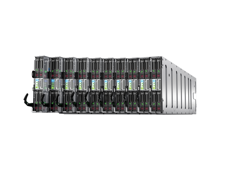 Front right angle of HPE ProLiant XL230a server trays cascading from an HPE Apollo 6000 chassis.