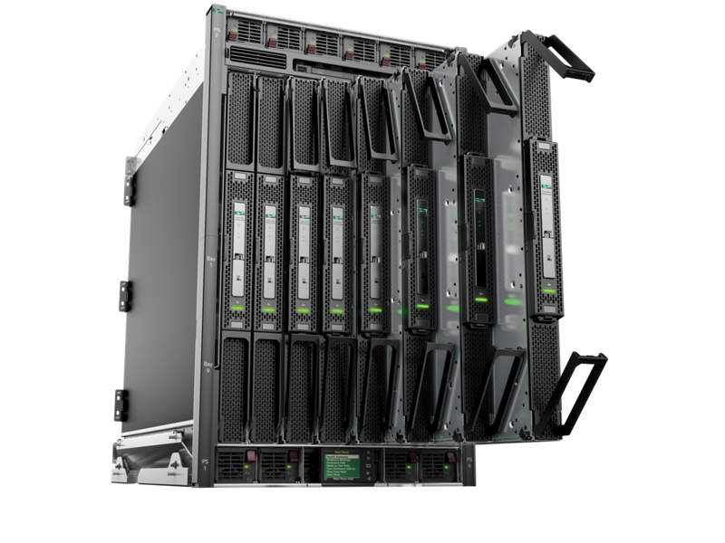 Front left angle of an HPE Integrity Superdome X with cascading BL920s Gen8 server blades.